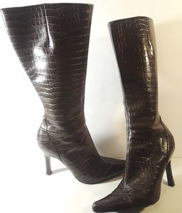 Nine West Faux Snake Print Heeled Brown Boots 7